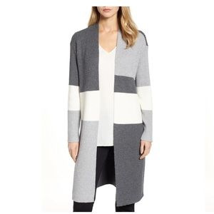 Vince Camuto Colorblock Ribbed Cardigan size L
